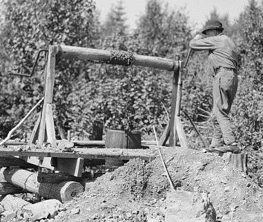 old mining windlass